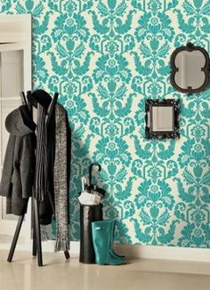 Genuine Flock Wallpaper - CicelyTeal Flock Wallpaper, Teal Wallpaper, Feature Wallpaper, Garage Sale Pricing, Bethany House, Bright Rooms, Entry Hallway, Living Room Designs, New Homes