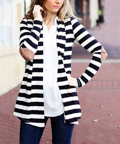 This Black Stripe Elbow Patch Cardigan by So Perla is perfect! #zulilyfinds