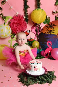 Cora's Flamingo Cake Smash Session Celebrating One with Miss J. {{ a Luau Cake Smash }} Luau Cakes, Beach Cakes, Beach Cake Smash, Adult Cake Smash, Garden Cupcakes, Carousel Cake, Luau Theme Party, Flamingo Cake, Shark Cake