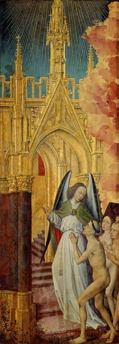 The Good being led to Heaven, detail from The Last Judgement, by Rogier van der Weyden Catholic Art, Religious Art, Robert Campin, Renaissance Kunst, Altar, Biblical Art, Dutch Painters, Classic Paintings, Dutch Artists