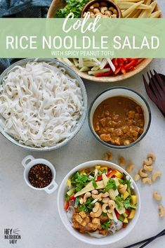 Cold Rice Noodle Salad! This cool and refreshing Asian noodle salad is totally vegan and gluten-free, and has a zippy peanut sauce to complement. You can mix and match the vegetables as you see fit, which makes this healthy recipe family-friendly and versatile as well! #vegan #glutenfree #salad #ricenoodles #asian #vegetarian #healthy #recipe #noodles Veggie Recipes Healthy, Healthy Rice, Tasty Vegetarian Recipes, Vegetarian Lunch, Salad Recipes, Veg Recipes, Recipies, Spicy Asian Noodles, Asian Noodle Recipes