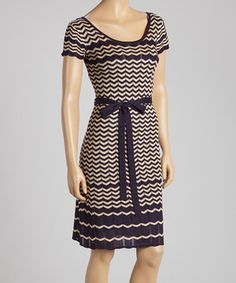 Another great find on #zulily! Julian Taylor Taupe & Navy Zigzag Knit Scoop Neck Dress by Julian Taylor #zulilyfinds