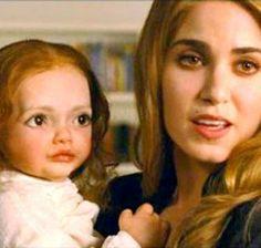 #Twilight - Nikki Reed holding the creepy Reneesmee animatronic doll that thankfully they didn't use.