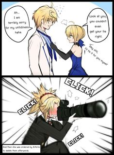Who are they, Fathers or Parents exactly when they were together<br> Anime Couples Manga, Anime Manga, Funny Images, Funny Pictures, Kind Und Kegel, Type Moon Anime, Fate Stay Night Anime, Fate Servants, Fate Anime Series