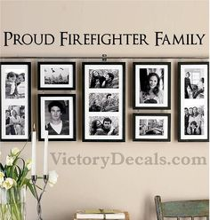 """Vinyl Wall Decal - 36x2.5 - """"Proud Firefighter Family"""" Quote. $20.00, via Etsy."""