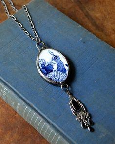 China Necklace Broken China Jewelry Peacock Bone by BayouGlassArts