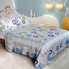 [Bubble Ocean] 100% Cotton 3PC Vermicelli-Quilted Patchwork Quilt Set (King Size)