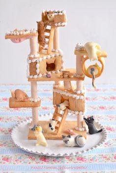 猫の日のクッキーキャットタワー詳細  Homemade Cat Tower Cookies for Japanese Cat Day 2 - Pretty Cakes, Cute Cakes, Beautiful Cakes, Yummy Cakes, Japanese Sweets, Japanese Food, Japanese Wagashi, Japanese Cat, Cute Baking