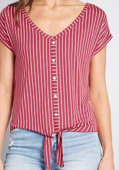 Timely Arrival Tie Waist Top in XXS - Short Sleeve Regular by ModCloth Hipster Outfits, Retro Outfits, Cord Jacket, Mama T Shirt, Tie Waist Top, Mod Dress, Modcloth, Casual Tops, Dress Patterns