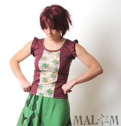 Jersey tank top - Wine red and vintage floral jersey  -  long tank top - pleated sleeves - size S. €49,00, via Etsy.