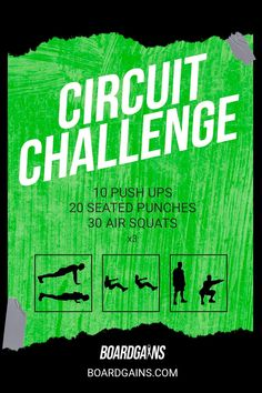 Spice up your workout routine with this circuit challenge. Get your cardio in while doing fun and effective exercises! Fit Board Workouts, Fitness Workouts, Fun Workouts, At Home Workouts, Fitness Games For Kids, Exercise For Kids, Gym Routine For Beginners, Gym Supplements, Conditioning Workouts