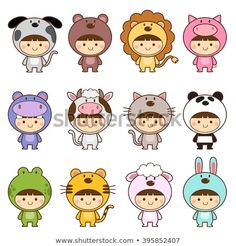 Illustration about Vector illustration set of kids in cute animals costumes. Illustration of clip, carnival, adorable - 69246371 Cute Animal Drawings, Kawaii Drawings, Doodle Drawings, Cute Drawings, Doodle Art, Animal Costumes, Pet Costumes, Griffonnages Kawaii, Doodles Kawaii