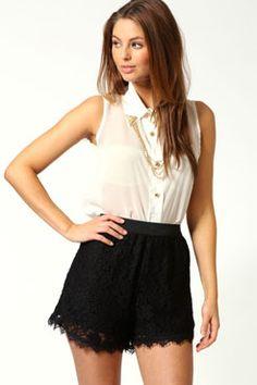 Molly Elastic Waist Lace Scalloped Hem Shorts