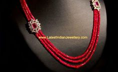 Ruby Beads Necklace Or just the simplicity of 3 strands and two pretty flowers