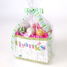 "Cake pops from Candy's Cake Pops in ""Thanks"" basket box from Nashville Wraps. #cakepopgiftbaskets"