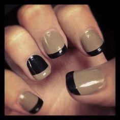 Alternative french manicure. Different colors but cute idea.