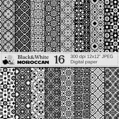 Check out this item in my Etsy shop https://www.etsy.com/listing/290258505/black-and-white-moroccan-digital-paper