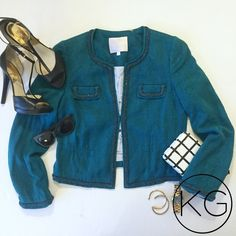 """Rebecca Taylor Teal Tweed Blazer with Chain Detail In great pre-owned condition! •Women's Size 8 •Body 55% Silk 45% Viscose, Lining 97% Cotton 3% Spandex •Front clasp closure, braided chain details •Lightly padded shoulders •Approx: 21"""" from shoulder to hem, 18.5"""" from underarm to underarm, 17"""" waist no trades nor lowball offers Thanks for shopping in my closet!! Rebecca Taylor Jackets & Coats Blazers"""