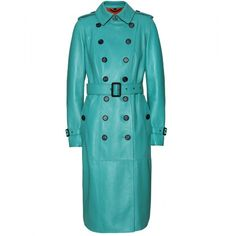 Burberry Prorsum Leather Trench Coat ($2,676) ❤ liked on Polyvore featuring outerwear, coats, jackets, coats & jackets, burberry, double breasted belted coat, leather coat, blue double breasted coat, belted coat and burberry trenchcoat