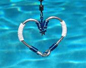 FISH HOOK HEART Necklace - Blue and White on Silver Hooks