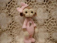 Crochet monkey doll by bear artist Paula Stevens..Be cute for a baby gift!!