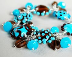 Blue Skies and Chocolate Lampwork Crystal and by happyshackdesigns