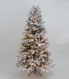 Snowy Pine Christmas Tree - 7.5′ Pre-Lit Snowy Pine Flocked Medium ...