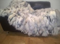 Genuine Platinum Fur Fox Throw Blanket by LUXURYFURS on Etsy