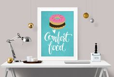 Décor de cuisine, art de la cuisine imprimer, drôle décoration, réconfort, art donut imprimé, dortoir décoration, décoration murale, sticker cuisine, l