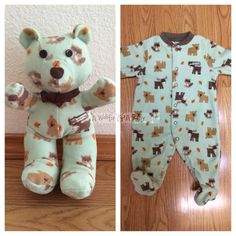A one of a kind, custom keepsake bear for Jackie Deenik made out of your babys clothes! Many people send their childs coming home from the
