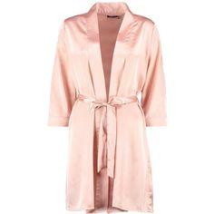 Skyler Satin Kimono Robe (52 PEN) ❤ liked on Polyvore featuring intimates, robes, kimono robe, kimono dressing gown, bath robes, satin bathrobe and satin dressing gown