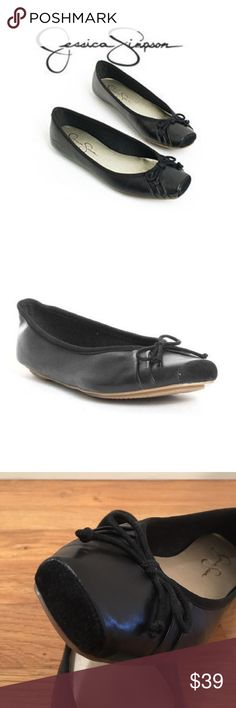 Jessica Simpson Ballet Flats Super cute Jessica Simpson black 'Leve' ballet flats. Leather upper with suede square toe and cute pleat & bow detail. Like-new condition, worn once for about an hour. ⚡️NO TRADES⚡️ Jessica Simpson Shoes Flats & Loafers