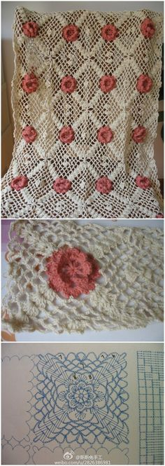 Rose afghan crochet chart THIS WOULD BE LOVELY AS A BEDSPREAD WITH SIZE 10 THREAD M: