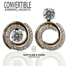 Two tone #Diamond Convertible Earring Jackets allow you to wear your diamond studs three unique ways. Visit your local #GottliebandSons retailer and ask for style number 28986B. http://www.gottlieb-sons.com/product/detail/28986B