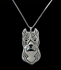 American Staffordshire Terrier Antique Silver Plated Charm Necklace - Proceeds Go To Pit Bull Rescue