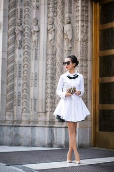 Fancy Shirtdress :: Textured flare dress & Embellished necklace - Get this look: https://www.lookmazing.com/images/view/22034?e=1&shrid=329_pin