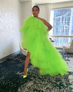 wore a custom neon green tulle dress and pumps. Styled by Tap the pic to get a similar… Neon Prom Dresses, Sherri Hill Prom Dresses, Tulle Prom Dress, Quinceanera Dresses, Tulle Skirts, Pageant Dresses, Long Dresses, Maxi Dresses, Black Women Fashion