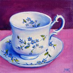 Vintage Cup 6x 6 , painting by artist Meltem Kilic