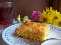 Breakfast casserole - bacon, eggs, and tater tots...yum! Can be made with sausage too