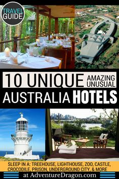 The best hotels in Australia | Unique Stays | Quirky Hotels | Top 10 Unusual Hotels in Australia | Where to stay in Australia | Things to do in Australia | Australia Hotels | Places to visit in Australia | Sydney Hotels | Sydney Accommodation | Australia Accommodation | Stay in a castle, prison, treehouse, underground city, lighthouse, zoo, and more.