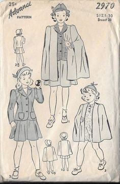 VTG 40s Girls Suit and Cape Advance 2970 Sewing Pattern Size 10