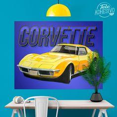 Vinilos Decorativos: Póster adhesivo Corvette #poster #coche #corvette #amarillo #lámina #vinilo #TeleAdhesivo Corvette, Vehicles, Car, Adhesive, Vinyls, Yellow, Fabrics, Illustrations, Fotografia