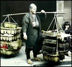 Hand-tinted glass lantern slide printed from a half-stereoview negative. Old Pictures, Old Photos, Vintage Photographs, Vintage Photos, Japan Landscape, Japan Shop, The Good Old Days, Vintage Japanese, Old Things