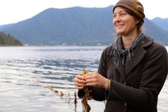 Hope Merritt, gathering seaweed, Sitka, Alaska