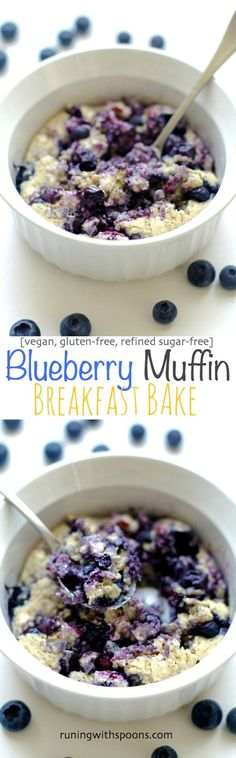 Try this vegan Blueberry Muffin Breakfast Bake -- tastes just like a blueberry muffin! Pair it with an apple for a satisfying breakfast!