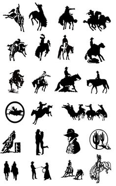 Black and white Cow Boy Silhouettes Vector