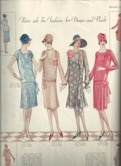 """Carolyn Forbes Carolyn Forbes saved to Historic Costume: 1927 McCall Quarterly Magazine Page """"Paris sets the Fashion for Drapes and Plaits"""" 1920s Fashion Women, Great Gatsby Fashion, Vintage Fashion, Womens Fashion, Cheap Fashion, 1920s Outfits, Vintage Outfits, 1920s Looks, Leotard Fashion"""