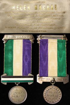 """Suffraget Medal with purple, green and white Votes for Women, explained the symbolism of the colours in spring 1908: """"Purple as everyone knows is the royal colour. It stands for the royal blood that flows in the veins of every suffragette, the instinct of freedom and dignity; white stands for purity in private and public life; green is the colour of hope and the emblem of spring."""" In other words, she said, the colours stood for freedom and dignity, purity and hope."""""""
