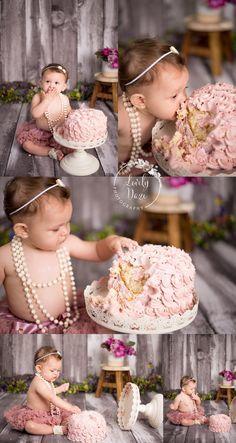 nj cake smash - vintage girl pearls , pink girls cake smash , pink and grey cake smash , mauve cake smash , tutu cake smash , lovely daze photography