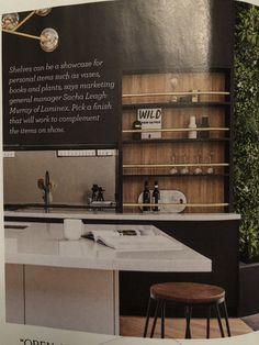 Another example. I really like this idea, but I would only want one open space like this. Coffee machine, favourite cups, water glasses and champagne glasses on hand. Champagne Glasses, Coffee Machine, Open Shelving, Cups, Space, Water, Kitchen, Floor Space, Gripe Water